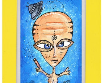 Alien Art small painting. Phone Home -recycled paper with hand painted wooden frame
