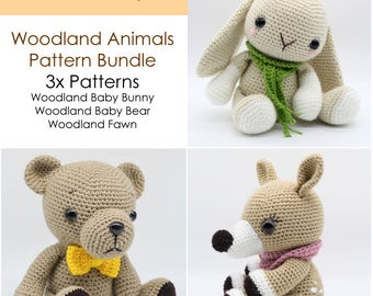 Crochet Amigurumi Baby Bunny, Baby Bear and Fawn PATTERNS ONLY Bundle, Special Offer, Stuffed Toy Pattern