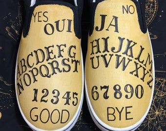 Hand Painted Ouija Shoe. No stencil. 100% freehand. Can be made into Ouija Toms, Ouija Vans or Ouija Converse.