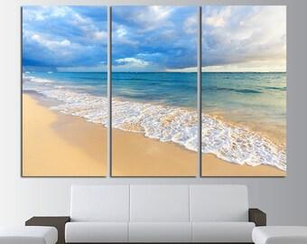 Large Beach Print Canvas Wall Art Set Beach Print Ocean Wall Decor Beach Wall Art Beach Poster Ocean Photo Beach Photo Sea Wall Art Set