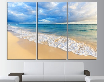 Large Beach Print Canvas Wall Art Set Beach Print Ocean Wall Decor Beach  Wall Art Beach
