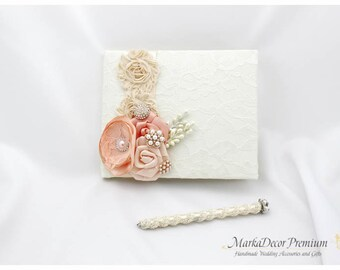 Wedding Lace Guest Book Pen Set Custom Bridal Flower Brooch Guest Books in Ivory Peach and Blush Pink