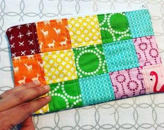 Rainbow Quilted Zipper Pouch
