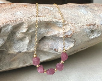 Raw Ruby Necklace in Gold or Silver