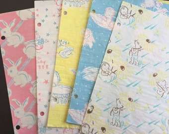 Vintage Baby shower wrapping paper, assortment of 5 sheets
