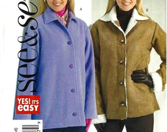 Butterick B4642 See & Sew Sewing Pattern for Misses Easy Unlined Loose Fitting Jacket sz XS Thru M Uncut