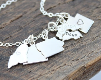 Silver State Charm Necklace, State Charm Jewelry, Personalized Gifts, State Gift, Silver State Charm Jewelry, Gift Jewelry, Home Sweet Home
