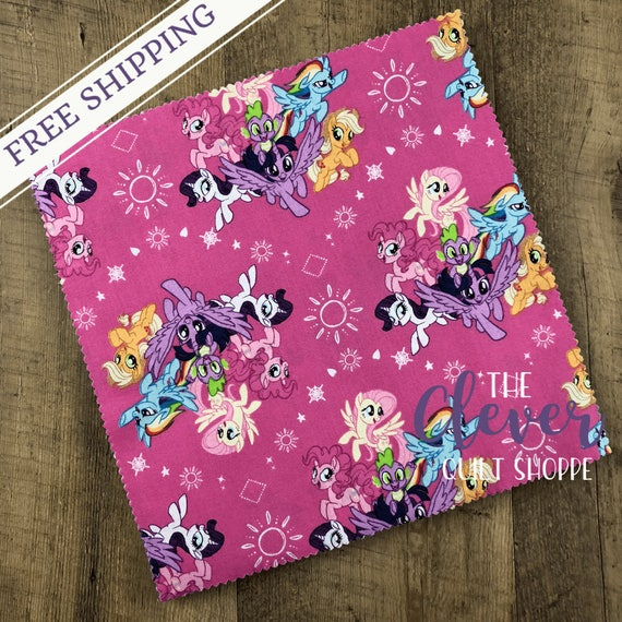 Layer Cake Squares, My Little Pony, Camelot, Girls, Kids, Horses, Ponies, Pink, Blue, Purple, Quilting Fabric, Precut Fabric,