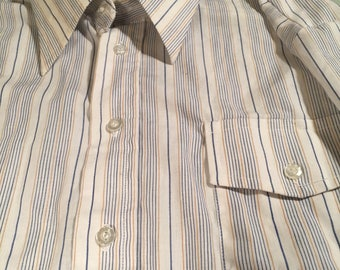 Vintage Mervyn's White Striped Button Down Cotton Blend Shirt Men's Size 16 1/2 32/33
