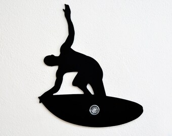 Surfer Silhouette-Wall Hook  / Coat Hook / Key Hanger