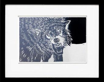 Snarling Wolf, Hand Printed Linocut