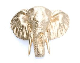 Elephant Head Wall Mount - Faux Taxidermy - Gold Elephant  Wall Mount - 3D Safari Animal Wall Sculpture - Elephant Head Home Decor EL08