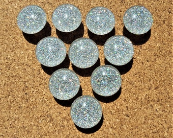 Holographic Glitter Thumbtacks, Push Pins Set. Glass Thumbtacks. Perfect for Bulleting Boards, Office Gifts, Office Decor.