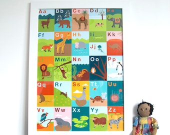 Animal Alphabet Colourful A2 Print