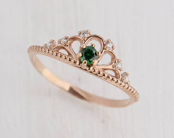 Promise ring, Emerald ring, Art nouveau ring, Gold emerald ring, Crown ring, Fancy ring, Promise ring gold, Gold women ring, May birthstone