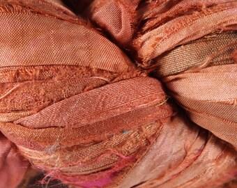 Recycled Sari Silk Ribbon - Salmon