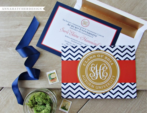 Monogrammed graduation announcementgraduation invitation like this item filmwisefo Images