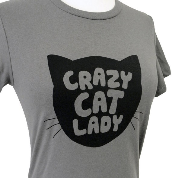 items similar to crazy cat lady t shirt grey funnycat ladies shirt available in sizes s m. Black Bedroom Furniture Sets. Home Design Ideas