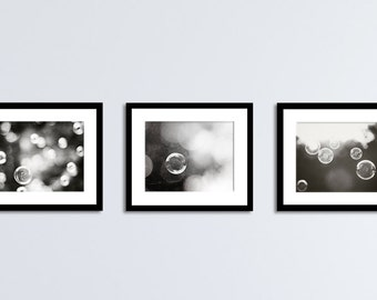 Black and White Bathroom Set - abstract laundry room wall art soap bubble photos dark grey pictures, modern photography, neutral photographs