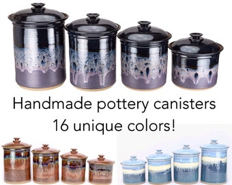 Made to order kitchen canister set in your choice of glaze. Wheel thrown pottery canisters- 3 or 4 piece set. Allow 6-8 weeks for completion