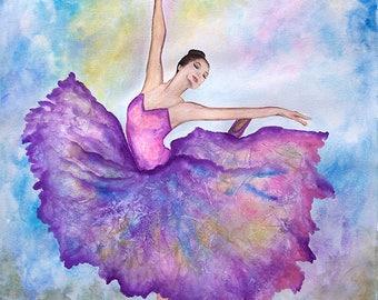 """Ballerina Dreamer Original watercolor painting 18""""x24"""""""