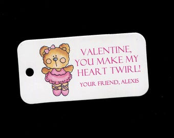 Valentine Tags - Personalized Valentines Day Tags - Ballerina - Bear - Gift Tags - Classroom Party Tags - Tags for Valentine Gifts