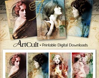 Printable Download ETERNAL BEAUTY Digital Collage Sheet Gift Tags Vintage Ephemera Jewelry Holders paper Scrapbooking Art Cult graphics