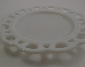Vintage Milk Glass Plate, Lace Edge Milk Glass Plate