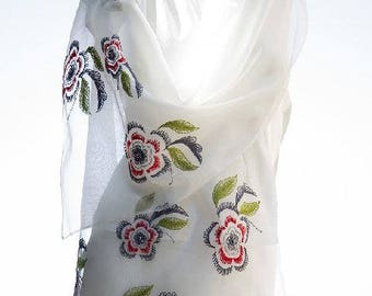SALE! Sweet Dream Silk Hand-Embroidered Scarf (SM-08) Women Scarves,Gifts on budget,Silk Scarves,Accessories,Gifts for girls