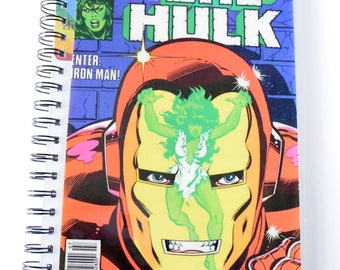 She-Hulk and Iron Man Comic Journal & Sketchbook // Recycled Vintage Comic