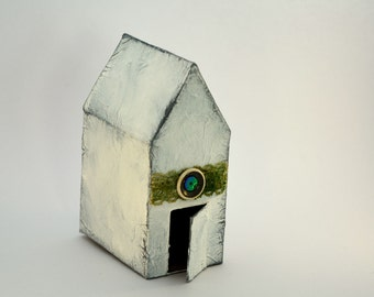 Decorative house, mixed media, white and butterflies