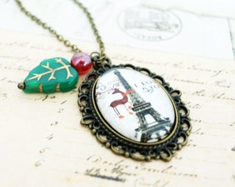 Glass Photo Jewelry  Paris Eiffel Tower Necklace Reindeer Necklace France Tower Necklace Photo Jewelry Photo Gifts  Gift for her