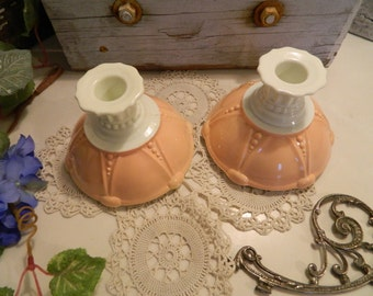 Rare Vintage Anchor Hocking Vitrock Pink Salmon and White Oyster and Pearl Candlesticks Candle Holders