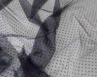 Black Point d'Esprit Lace Fabric, Soft Dotted Lace Fabric, Dotted Tulle, Polka dot Tulle for Bridal Veils - LL1836