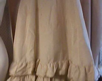 Antique 1870 Creme Skirt has double ruffles at bottom, Sold AS IS, has some stains and made larger.
