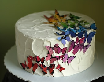 """8"""" round  rainbow butterflies fake cake, dummy cake tier faux cake for photo shoots. First birthday photo shoot prop"""
