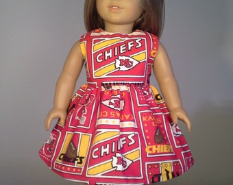 American Girl Doll Clothes Handmade 18 inch Kansas City Chiefs Football Print Dress made for American Girl Our Generation