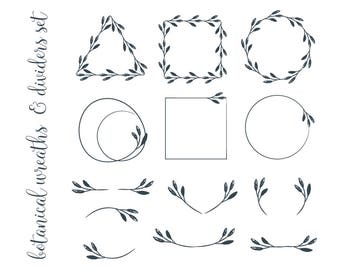 Minimalist wreaths and dividers clipart botanical wreaths clip grunge botanical wreaths and dividers clipart minimalist geometric frames png vector eps pdf diy greeting card logo tag label invitation stopboris Image collections