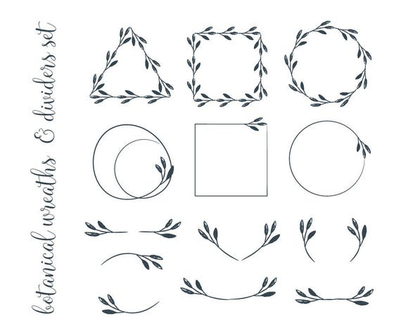 Grunge botanical wreaths and dividers clipart minimalist geometric grunge botanical wreaths and dividers clipart minimalist geometric frames png vector eps pdf diy greeting card logo tag label invitation from stopboris Images