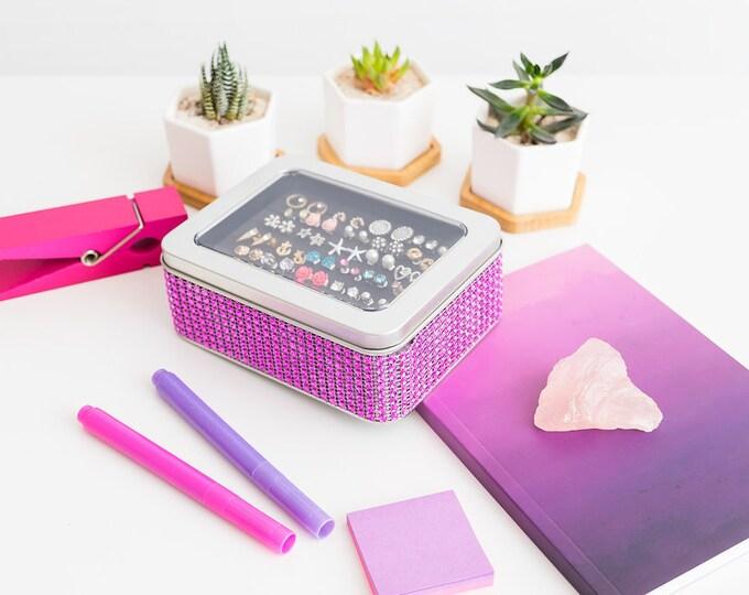 Tin Jewelry Box, Hot Pink Jeweled Ribbon  - Travel Earring Holder