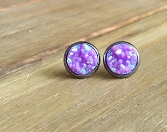 Lilac earrings, lilac druzy, stud earrings, druzy studs, unicorn earrings, pastel purple, lavender studs, 10mm, stainless steel, sparkly