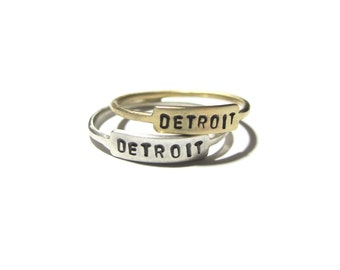Handmade DETROIT Nameplate Ring in Brass or Sterling Silver  / / Minimalist Stackable Michigan City Nameplate Ring