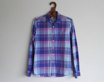 Vintage Chequered Longsleeve Oxford Shirt Made in Scandinavia Purple Cotton