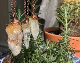 Raw Citrine Crystal Necklace Small Electroformed Pendant Gift