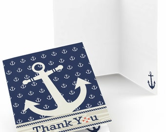 Ahoy Nautical Thank You Cards - Baby Shower Thank You Cards - Birthday Party Thank You's - Set of 8 Folding Note Cards