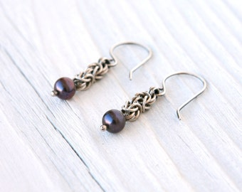 Oxidized Sterling Silver Byzantine Chainmaille Earrings with Raven's Wing Pearls and Handmade Earwires