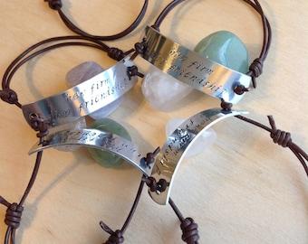 Leather Corded Bracelet Hand Stamped Bracelet, Custom Hand Stamped Bracelet, Personalized Bracelet Cuff, Personalized Stamped Bracelet