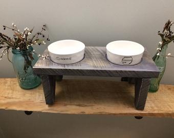 Handmade Repurpose White Oak Wood Small Cat Feeder with 2 Rae Dunn Cat Bowls