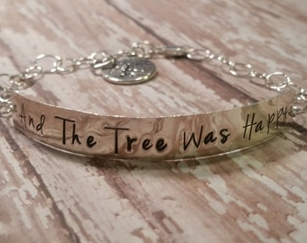 Hand Stamped Happy Tree Bracelet, Perfect Valentine's Day, Mother's Day! Tree of Life, Personalized for a Unique Gift!