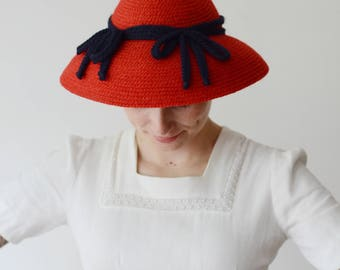 40s/50s Needlepoint by Everett Red Hat with Blue Bows